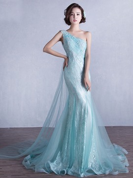 Ericdress Mermaid One-Shoulder Appliques Beading Sequins Sweep Train Evening Dress