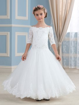 Ericdress Beautiful Off The Shoulder Half Sleeves Flower Girl Dress