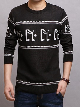 Ericdress Jacquard Pullover Slim Men's Sweater