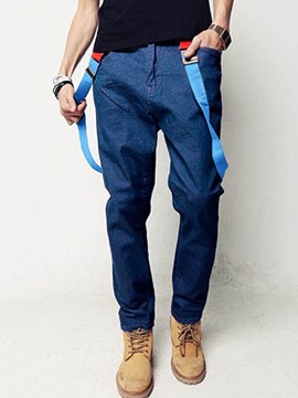 Ericdress Casual Denim Suspender Men's Pants