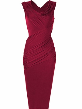 Ericdress Solid Color Pleated Sleeveless Sheath Dress