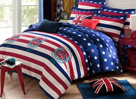 Ericdres Vogue England Stripe 4-Piece Cotton Bedding Sets