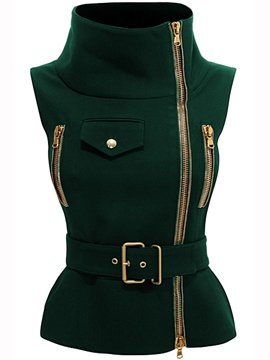 Ericdress Oblique Zipper Sleeveless Jacket