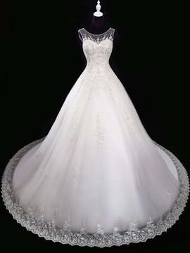 Ericdress Gorgeous Scoop Appliques Beading Wedding Dress
