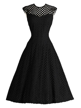 Ericdress Solid Color Patchwork Hollow Little Black Dress
