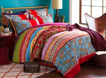 Ericdress Colorful Check 4-Piece Cotton Bedding Sets