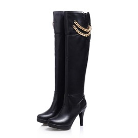 Ericdress Metal Chain Decortion Knee High Boots