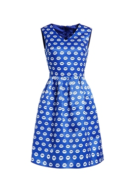 Ericdress V-Neck Print Little Party Dress