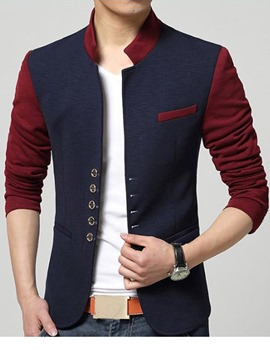 Ericdress Color Block Stand Collar Men's Blazer