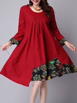 Ericdress Patchwork Pleated Asymmetric Casual Dress