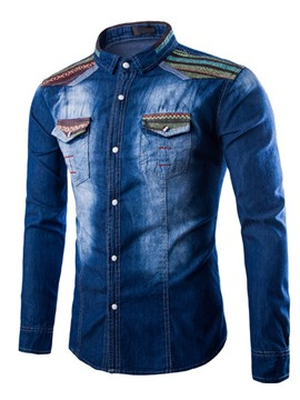 Ericdress Worn Casual Denim Men's Shirt