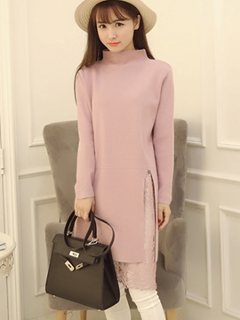 Ericdress Plain Lace Patchwork Split Sweater Dress