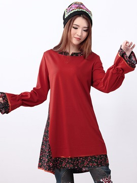 Ericdress Flare Sleeve Floral Print Patchwork Casual Dress