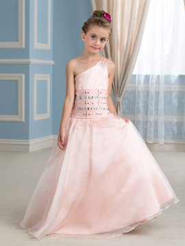 Ericdress Charming One Shoulder Beading Floor Length Flower Girl Dress