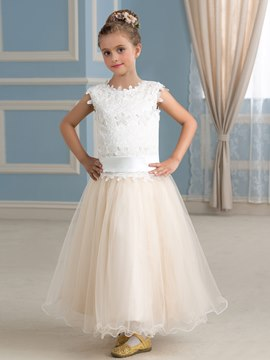 Ericdress Beautiful Jewel A Line Tulle Flower Girl Dress