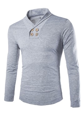 Ericdress Plain V-Neck Long Sleeve Men's T Shirt