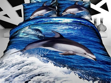 Ericdress Dolphin Playing Wave Print Bedding Sets