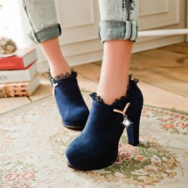 Ericdress Suede Lace High Heel Boots