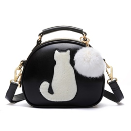 Ericdress Cute Cat Fuzzy Ball Shoulder Bag