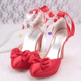 Ericdress Pearl&bowknot Decoration Wedding Shoes