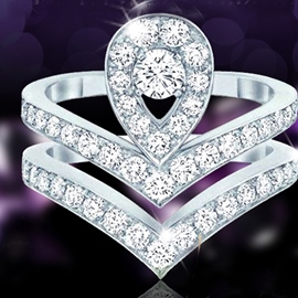 Ericdress Simple V Shape Crown Diamond Ring