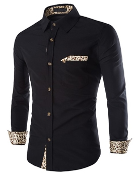 Ericdress Leopard Patched Slim Men's Shirt