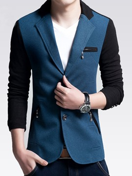 Ericdress Color Block Single-Breasted Men's Blazer