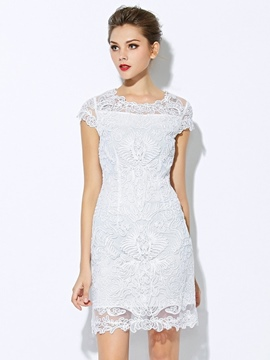 Ericdress Short Sleeves Lace Party Dress