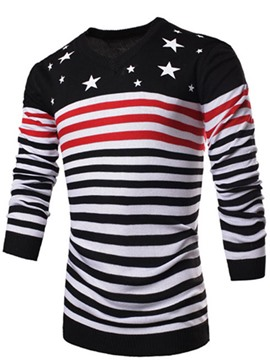 Ericdress Stripe Color Block V-Neck Men's Sweater