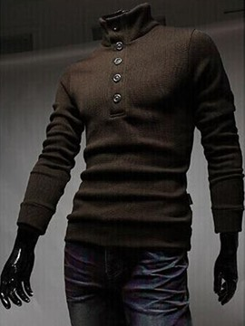 Ericdress Turtleneck Buttons Decorated Men's Sweater