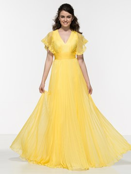 Ericdress A-Line V-Neck Short Sleeves Pleats Prom Dress