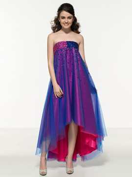 Ericdress A-Line Strapless Asymmetric Length Prom Dress