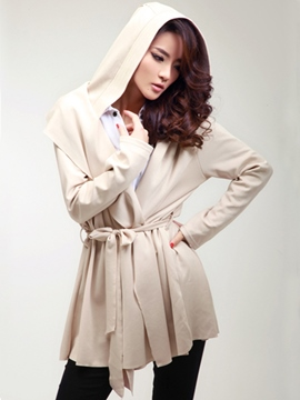 Ericdress Plain Pleated Hooded Trench Coat