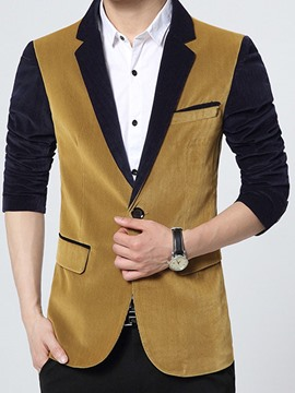 Ericdress Color Block Corduroy Slim Men's Blazer