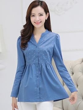 Ericdress Polka Dots Pleated Single-Breasted Blouse