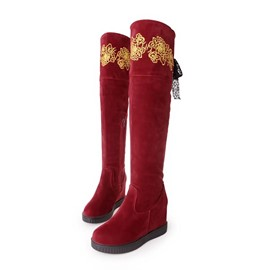 Ericdress Suede Ribbon Decorated Knee High Boots