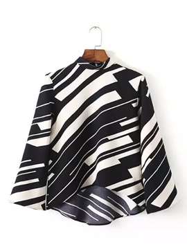 Ericdress Stripped Stand Collar Blouse