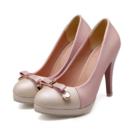 Ericdress Patchwork Bowknot Decorated Pumps