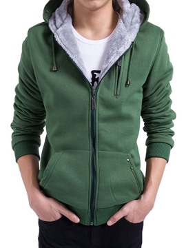 Ericdress Zip Thicken with Velvet Warm Men's Hoodie