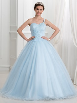 Ericdress One Shoulder Sweetheart Appliques Sequins Ball Gown Quinceanera Dress