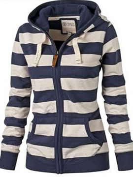 Ericdress Classical Stripe Zipper Hoodie