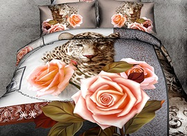 Ericdress Enchanting Leopard Rose Print 3D Bedding Sets
