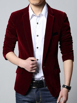 Ericdress Plain Corduroy Casual Men's Blazer