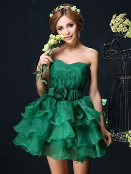 Ericdress Sweetheart Flowers Tiered Ruffles Homecoming Dress