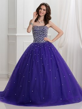 Ericdress trägerloses Perlen Lace-Up Ball Kleid Quinceanera Kleid