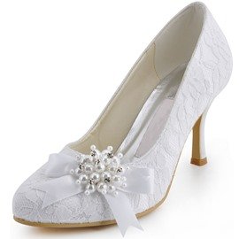 Ericdress Lace Pearl&bowtie Wedding Shoes