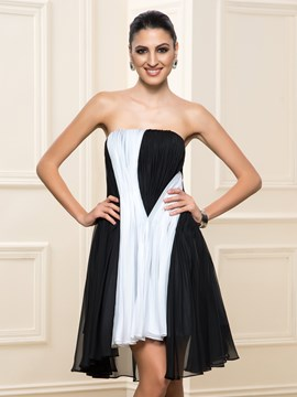 Ericdress Strapless Pleats Short Cocktail Dress