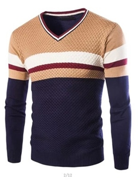 Ericdress V-Neck Color Block Stripe Men's Sweater