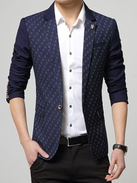 Ericdress Jacquard One Button Slim Men's Blazer