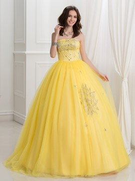 Ericdress Strapless Beaded Sequins Ball Gown Quinceanera Dress